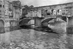 John Lavalle (American, 1896-1971). <em>Ponte Vecchio, Florence</em>. Watercolor Brooklyn Museum, Gift of Alfred W. Jenkins, 28.144. © artist or artist's estate (Photo: Brooklyn Museum, 28.144_glass_bw.jpg)