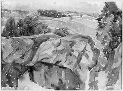 Alexander Portnoff (American, 1887-1949). <em>Brinton Quarry</em>. Watercolor Brooklyn Museum, Gift of Dr. Christian Brinton, 28.14. © artist or artist's estate (Photo: Brooklyn Museum, 28.14_acetate_bw.jpg)