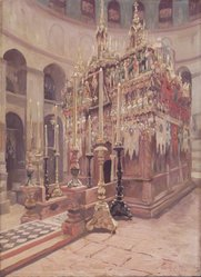 Nicolas S. Macsoud (American, 1884-1972). <em>The Holy Sepulchre, Jerusalem</em>, 1924. Oil on canvas, 30 1/8 x 22 1/8 in. (76.5 x 56.2 cm). Brooklyn Museum, Gift of Katherine Journeay in memory of Julius A. Gross, 28.281. © artist or artist's estate (Photo: Brooklyn Museum, 28.281_transp6202.jpg)
