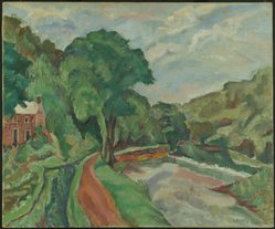 Frank Horowitz (American, born 1889). <em>Lumberville, Pa.</em>, ca. 1929. Oil on canvas, 30 1/8 x 36 1/8 in. (76.5 x 91.8 cm). Brooklyn Museum, Museum Collection Fund, 29.1196. © artist or artist's estate (Photo: Brooklyn Museum, 29.1196_PS1.jpg)