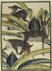Kai Gotzsche (American, born Denmark, 1886). <em>Deer and Cactus</em>, ca. 1926. Watercolor over graphite with some gold paint on moderately thick, moderately textured, cream, wove, hand-made Whatman paper, 30 1/8 x 22 1/4 in. (76.5 x 56.5 cm). Brooklyn Museum, Museum Collection Fund, 29.1389. © artist or artist's estate (Photo: Brooklyn Museum, 29.1389_PS2.jpg)