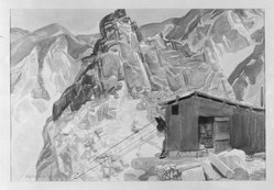 J. Olaf Olson (American, 1894-1950). <em>High Quarries</em>, 1929. Watercolor over graphite on paper, 15 1/2 x 22 5/16 in. (39.4 x 56.7 cm). Brooklyn Museum, Gift of Alfred W. Jenkins, 29.1392. © artist or artist's estate (Photo: Brooklyn Museum, 29.1392_glass_bw.jpg)