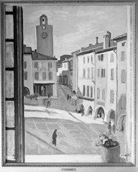 Albert André (French, 1869-1954). <em>The Clock Tower at Bagnols-sur-Cèze (La Tour de l'Horloge à Bagnols-sur-Cèze)</em>, ca. 1924. Oil on canvas, 31 7/8 x 25 1/2 in. (81 x 64.8 cm). Brooklyn Museum, Frank Sherman Benson Fund, 29.29. © artist or artist's estate (Photo: Brooklyn Museum, 29.29_glass_bw.jpg)