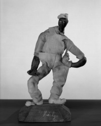Luis Hidalgo (Mexican, born 1901). <em>Figure of an American Laborer</em>, 20th century. Wax, 9 1/4 x 5 5/16 x 5 1/8 in. (23.5 x 13.5 x 13 cm). Brooklyn Museum, Gift of Katherine S. Dreier, 29.33. © artist or artist's estate (Photo: Brooklyn Museum, 29.33_acetate_bw.jpg)