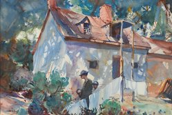 John Whorf (American, 1903-1959). <em>The Cabin - Tennessee</em>, 1928. Watercolor over graphite on cream, thick, moderately textured, heavily sized, wove paper, 15 3/4 x 23 in. (40 x 58.4 cm). Brooklyn Museum, Carll H. de Silver Fund, 29.68. © artist or artist's estate (Photo: Brooklyn Museum, 29.68_PS2.jpg)