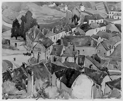 Julius Delbos (American, 1879-1970). <em>Red Roofs</em>. Watercolor Brooklyn Museum, Carll H. de Silver Fund, 29.69. © artist or artist's estate (Photo: Brooklyn Museum, 29.69_acetate_bw.jpg)