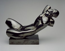 Alexander Archipenko (American, born Ukraine, 1887-1964). <em>Reclining Torso</em>, 1922. Glazed ceramic, 14 1/2 x 21 1/4 x 8 1/4 in. (36.8 x 54 x 21 cm). Brooklyn Museum, Robert B. Woodward Memorial Fund, 30.1107. © artist or artist's estate (Photo: Brooklyn Museum, 30.1107_SL3.jpg)