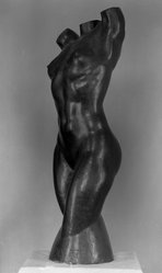 Arthur Lee (American, born Norway, 1881-1961). <em>Volupté</em>. Bronze, 40 3/8 x 13 13/16 x 11 3/8 in. (102.6 x 35.1 x 28.9 cm). Brooklyn Museum, Robert B. Woodward Memorial Fund, 30.1108. © artist or artist's estate (Photo: Brooklyn Museum, 30.1108_acetate_bw.jpg)
