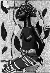 Susan Frazier (American, born 1900). <em>North African Woman (Mumza?)</em>, 1929. Gouache, 20 3/16 x 15 1/16 in. (51.2 x 38.2 cm). Brooklyn Museum, John B. Woodward Memorial Fund, 30.16. © artist or artist's estate (Photo: Brooklyn Museum, 30.16_acetate_bw.jpg)