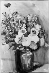 Carl Sprinchorn (American, 1887-1971). <em>Flowers</em>. Watercolor and pencil, 18 3/8 x 12 1/8 in. (46.7 x 30.8 cm). Brooklyn Museum, Gift of Alfred W. Jenkins, 30.65. © artist or artist's estate (Photo: Brooklyn Museum, 30.65_acetate_bw.jpg)