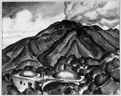 John Kellog Woodruff (American, 1879-1956). <em>Vesuvius</em>, 1929. Watercolor, 17 1/8 x 21 3/16 in. (43.5 x 53.8 cm). Brooklyn Museum, Gift of Alfred W. Jenkins, 30.66. © artist or artist's estate (Photo: Brooklyn Museum, 30.66_glass_bw.jpg)