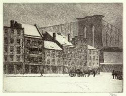 Frederick Theodore Weber (American, 1883-1956). <em>Peck Slip</em>, ca. 1930. Etching on white laid paper, image: 8 15/16 x 11 13/16 in. (22.7 x 30 cm). Brooklyn Museum, Museum Collection Fund, 30.80. © artist or artist's estate (Photo: Brooklyn Museum, 30.80_SL1.jpg)