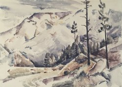Jozef G. Bakos (American, 1891-1977). <em>Early Snow</em>, ca. 1930. Watercolor on heavy white paper, Sheet: 14 15/16 x 20 7/8 in. (37.9 x 53 cm). Brooklyn Museum, Museum Collection Fund, 31.137. © artist or artist's estate (Photo: Brooklyn Museum, 31.137.jpg)
