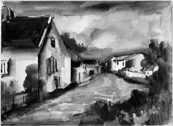 Maurice de Vlaminck (French, 1876-1958). <em>Village of Verville</em>. Watercolor, glazed, Image: 17 11/16 x 23 13/16 in. (45 x 60.5 cm). Brooklyn Museum, Museum Collection Fund, 31.204. © artist or artist's estate (Photo: Brooklyn Museum, 31.204_acetate_bw.jpg)