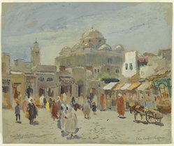 Colin Campbell Cooper (American, 1856-1937). <em>Place Bab-Souika, Tunis</em>, 20th century. Watercolor, (possibly casein), and graphite on paper, 15 1/16 x 18 in. (38.2 x 45.7 cm). Brooklyn Museum, Museum Collection Fund, 31.206 (Photo: Brooklyn Museum, 31.206_PS2.jpg)