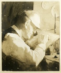 Alphaeus P. Cole (American, born 1876). <em>Portrait of Timothy Cole at Work</em>, 1926. Watercolor over pencil, 23 7/8 x 20 in. Brooklyn Museum, Frederick Loeser Fund, 31.738. © artist or artist's estate (Photo: Brooklyn Museum, 31.738_print.jpg)