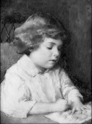 Mary Coleman Allen (American, 1888-1974). <em>Boy Drawing</em>, ca. 1931. Watercolor on ivory portrait in wood frame under glass, Image (sight): 3 5/16 x 2 1/2 in. (8.4 x 6.4 cm). Brooklyn Museum, Museum Collection Fund, 31.747. © artist or artist's estate (Photo: Brooklyn Museum, 31.747_bw_SL1.jpg)