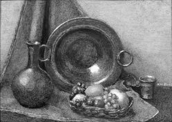 Alma Hirsig Bliss (American, born Bern, Switzerland 1875-after 1959). <em>Still Life</em>, 1930. Watercolor painting in brass frame under glass, Image (sight): 2 15/16 x 4 1/8 in. (7.5 x 10.5 cm). Brooklyn Museum, Museum Collection Fund, 31.748. © artist or artist's estate (Photo: Brooklyn Museum, 31.748_bw_SL1.jpg)