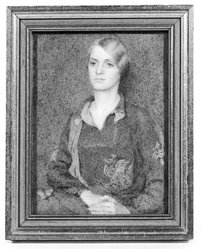 Rosina Cox Boardman (American, 1878-1970). <em>Girl in Green</em>, n.d. Watercolor on ivory portrait in gilded wood frame under glass, Image (sight): 3 13/16 x 2 7/8 in. (9.7 x 7.3 cm). Brooklyn Museum, Museum Collection Fund, 31.756. © artist or artist's estate (Photo: Brooklyn Museum, 31.756_bw_SL1.jpg)