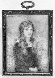 Clara Louise Bell (American, 1886-1995). <em>Portrait of Girl with Long Hair</em>, 1923. Watercolor on porcelain in metal frame under glass, Image (sight): 3 7/8 x 2 13/16 in. (9.8 x 7.1 cm). Brooklyn Museum, Museum Collection Fund, 31.759. © artist or artist's estate (Photo: Brooklyn Museum, 31.759_bw_SL1.jpg)