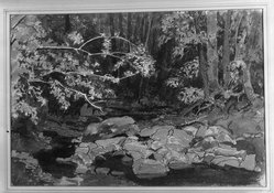 Edward Barnard Lintott (American, 1875-1951). <em>Brook in the Woods</em>. Watercolor, 15 x 21 1/2 in.  (38.1 x 54.6 cm). Brooklyn Museum, Gift of Marie Sterner Lintott, 33.147. © artist or artist's estate (Photo: Brooklyn Museum, 33.147_acetate_bw.jpg)