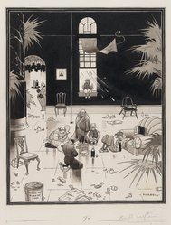 Charles Forbell (American, 1884-1946). <em>Club Life in America, the Picnickers</em>, before 1933. Pen and ink wash on paper, Image: 14 3/8 x 11 5/8 in. (36.5 x 29.5 cm). Brooklyn Museum, Gift of Spencer Bickerton, 33.223. © artist or artist's estate (Photo: Brooklyn Museum, 33.223_PS4.jpg)