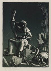 Allen Lewis (American, 1873-1957). <em>Saint Francis Preaching to the Birds</em>, 1933. Woodcut on paper, sheet: 12 3/4 in. (32.4 cm). Brooklyn Museum, Gift of members of the Woodcut Society, 33.406. © artist or artist's estate (Photo: Brooklyn Museum, 33.406_PS2.jpg)