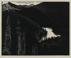 Walter Joseph Phillips (Canadian, 1884-1963). <em>Vista Lake</em>, 1932. Wood engraving on laid paper, sheet: 7 9/16 x 9 5/8 in. (19.2 x 24.4 cm). Brooklyn Museum, 33.57. © artist or artist's estate (Photo: Brooklyn Museum, 33.57_PS2.jpg)