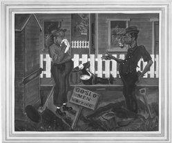 Joseph Byron Egan (American, 1906-1962). <em>Men Working</em>. Watercolor Brooklyn Museum, John B. Woodward Memorial Fund, 33.85. © artist or artist's estate (Photo: Brooklyn Museum, 33.85_acetate_bw.jpg)