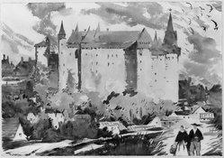 Thornton Oakley (American, 1881-1953). <em>Vitre, the Chateau</em>. Watercolor Brooklyn Museum, John B. Woodward Memorial Fund, 33.90. © artist or artist's estate (Photo: Brooklyn Museum, 33.90_acetate_bw.jpg)