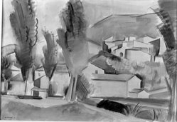 André Lhote (French, 1885-1962). <em>Mirmande (Drôme)</em>, 1928. Watercolor, 15 x 21 7/8 in.  (38.1 x 55.6 cm). Brooklyn Museum, A. Augustus Healy Fund, 33.91. © artist or artist's estate (Photo: Brooklyn Museum, 33.91_glass_bw.jpg)