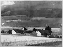 Heinrich Burkhardt (German, born 1904). <em>Saxon Landscape in September</em>, 20th century. Watercolor, 19 1/16 x 26 in.  (48.4 x 66.0 cm). Brooklyn Museum, A. Augustus Healy Fund, 33.92. © artist or artist's estate (Photo: Brooklyn Museum, 33.92_acetate_bw.jpg)