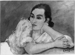 Constantin von Mitschke-Collande (German, 1884-1956). <em>Portrait of a Lady</em>, 20th century. Watercolor, glazed, Mat opening: 18 1/8 x 24 13/16 in. (46 x 63 cm). Brooklyn Museum, A. Augustus Healy Fund, 33.93. © artist or artist's estate (Photo: Brooklyn Museum, 33.93_acetate_bw.jpg)