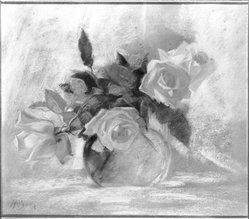 M. Brown (American). <em>Roses</em>. Pastel on tan paperboard, 13 1/8 x 15 in. (33.3 x 38.1 cm). Brooklyn Museum, Brooklyn Museum Collection, 34.5593 (Photo: Brooklyn Museum, 34.5593_framed_bw.jpg)