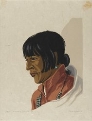 Treva Wheete (American, ca. 1890s-ca. 1963). <em>Manuel of Tesuque</em>, 1935. Woodcut on heavy Japan paper, Sheet: 13 x 9 7/8 in. (33 x 25.1 cm). Brooklyn Museum, 35.2029. © artist or artist's estate (Photo: Brooklyn Museum, 35.2029_PS2.jpg)