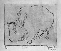 Stanley William Hayter (British, 1901-1988). <em>Bison</em>, 1928. Drypoint on wove paper, Image: 6 3/16 x 7 3/4 in. (15.7 x 19.7 cm). Brooklyn Museum, Gift of the artist, 35.2240. © artist or artist's estate (Photo: Brooklyn Museum, 35.2240_bw.jpg)
