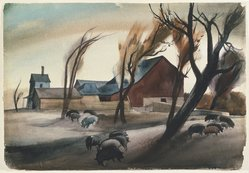 Millard Owen Sheets (American, 1907-1989). <em>Hog Lot</em>, 1932. Watercolor over graphite on off-white, very thick, rough-textured wove paper, 15 7/8 x 23 in. (40.3 x 58.4 cm). Brooklyn Museum, John B. Woodward Memorial Fund, 35.912. © artist or artist's estate (Photo: Brooklyn Museum, 35.912_SL1.jpg)