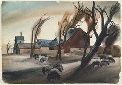Millard Owen Sheets (American, 1907-1989). <em>Hog Lot</em>, 1932. Watercolor over graphite on off-white, very thick, rough-textured wove paper, 15 7/8 x 23 in. (40.3 x 58.4 cm). Brooklyn Museum, John B. Woodward Memorial Fund, 35.912. © artist or artist's estate (Photo: Brooklyn Museum, 35.912_SL1.jpg)