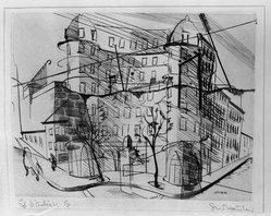 Stanley William Hayter (British, 1901-1988). <em>Paysages Urbains, Suite de Six Pointes-Sèches</em>, 1930. Drypoint and line engraving on wove paper, 8 1/8 x 10 1/2 in. (20.7 x 26.7 cm). Brooklyn Museum, Gift of the artist, 36.143. © artist or artist's estate (Photo: Brooklyn Museum, 36.143_view1_acetate_bw.jpg)