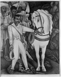 Diego Rivera (Mexican, 1886-1957). <em>Zapata</em>, 1932. Lithograph on paper, sheet: 20 3/8 x 15 1/2 in. (51.8 x 39.4 cm). Brooklyn Museum, Charles Stewart Smith Memorial Fund, 36.258. © artist or artist's estate (Photo: Brooklyn Museum, 36.258_acetate_bw.jpg)