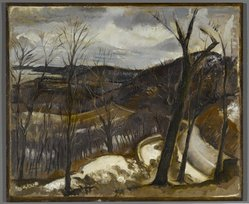 Henry Varnum Poor (American, 1887-1970). <em>View Over Nyack, Winter</em>, 1933. Oil on canvas, 20 x 24 in. (50.8 x 61 cm). Brooklyn Museum, John B. Woodward Memorial Fund, 36.307. © artist or artist's estate (Photo: Brooklyn Museum, 36.307_PS1.jpg)