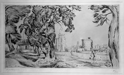Henry de Waroquier (French, 1881-1970). <em>Landscape</em>. Drypoint on laid paper, 7 7/8 x 13 3/4 in. (20 x 35 cm). Brooklyn Museum, Anonymous gift, 36.52. © artist or artist's estate (Photo: Brooklyn Museum, 36.52_acetate_bw.jpg)