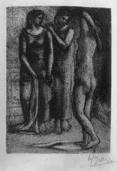 Pablo Picasso (Spanish, 1881-1973). <em>Les Trois Baigneuses, III</em>, 1922-1923. Etching on wove paper, 7 1/16 x 5 1/8 in. (17.9 x 13 cm). Brooklyn Museum, 36.56. © artist or artist's estate (Photo: Brooklyn Museum, 36.56_acetate_bw.jpg)