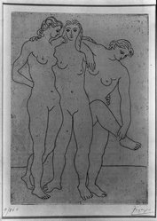 Pablo Picasso (Spanish, 1881-1973). <em>Groupe de Trois Femmes</em>, 1922-1923. Aquatint and etching on laid paper, 7 x 5 1/8 in. (17.8 x 13 cm). Brooklyn Museum, A . Augustus Healy Fund, 36.57. © artist or artist's estate (Photo: Brooklyn Museum, 36.57_acetate_bw.jpg)