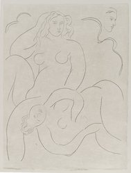 "Henri Matisse (French, 1869-1954). <em>[Untitled] (Illustration for the Poem ""L'Après-Midi d'un Faune"")</em>, 1932. Etching on wove paper, Sheet: 13 1/8 x 9 15/16 in. (33.3 x 25.2 cm). Brooklyn Museum, Carll H. de Silver Fund, 36.67.13. © artist or artist's estate (Photo: Brooklyn Museum, 36.67.13_PS2.jpg)"