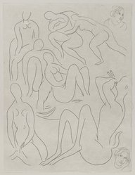 "Henri Matisse (French, 1869-1954). <em>[Untitled] (Illustration for the Poem ""L'Après-midi d'un Faune"")</em>, 1932. Etching on wove paper, Sheet: 13 x 9 13/16 in. (33 x 24.9 cm). Brooklyn Museum, Carll H. de Silver Fund, 36.67.15. © artist or artist's estate (Photo: Brooklyn Museum, 36.67.15_PS2.jpg)"