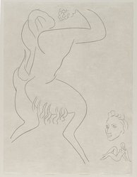 "Henri Matisse (French, 1869-1954). <em>[Untitled] (Illustration for the Poem ""L'Après-midi d'un Faune"")</em>, 1932. Etching on wove paper, Sheet: 13 1/16 x 9 7/8 in. (33.2 x 25.1 cm). Brooklyn Museum, Carll H. de Silver Fund, 36.67.17. © artist or artist's estate (Photo: Brooklyn Museum, 36.67.17_PS2.jpg)"
