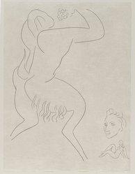 "Henri Matisse (French, 1869-1954). <em>[Untitled] (Illustration for the Poem ""L'Après-midi d'un Faune"")</em>, 1932. Etching on wove paper, Sheet: 13 1/16 x 9 7/8 in. (33.2 x 25.1 cm). Brooklyn Museum, Carll H. de Silver Fund, 36.67.17. © artist or artist's estate (Photo: Brooklyn Museum, 36.67.17_PS2.jpg)"