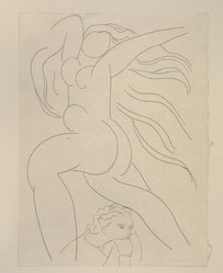 "Henri Matisse (French, 1869-1954). <em>[Untitled] (llustration for the Poem ""Le Guignon"")</em>, 1932. Etching on colored wove paper, Sheet: 13 x 9 13/16 in. (33 x 24.9 cm). Brooklyn Museum, Carll H. de Silver Fund, 36.67.1. © artist or artist's estate (Photo: Brooklyn Museum, 36.67.1_view1_PS12.jpg)"