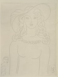 "Henri Matisse (French, 1869-1954). <em>[Untitled] (Illustration for the Poem ""Apparition"")</em>, 1932. Etching on colored wove paper, Sheet: 12 7/8 x 10 in. (32.7 x 25.4 cm). Brooklyn Museum, Carll H. de Silver Fund, 36.67.3. © artist or artist's estate (Photo: Brooklyn Museum, 36.67.3_view1_PS12.jpg)"